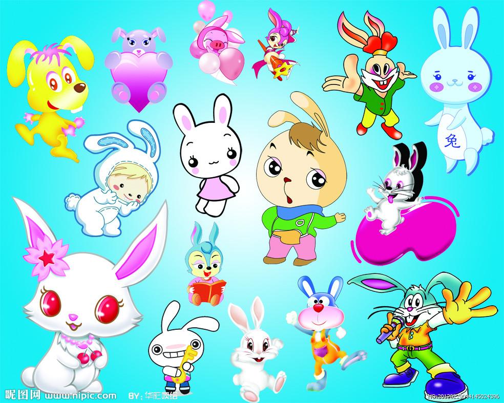 手绘萌兔子        兔子头饰图片